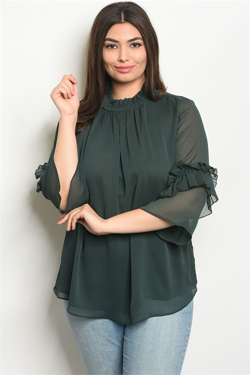 S20-3-4-T9432X GREEN PLUS SIZE TOP 2-2-2