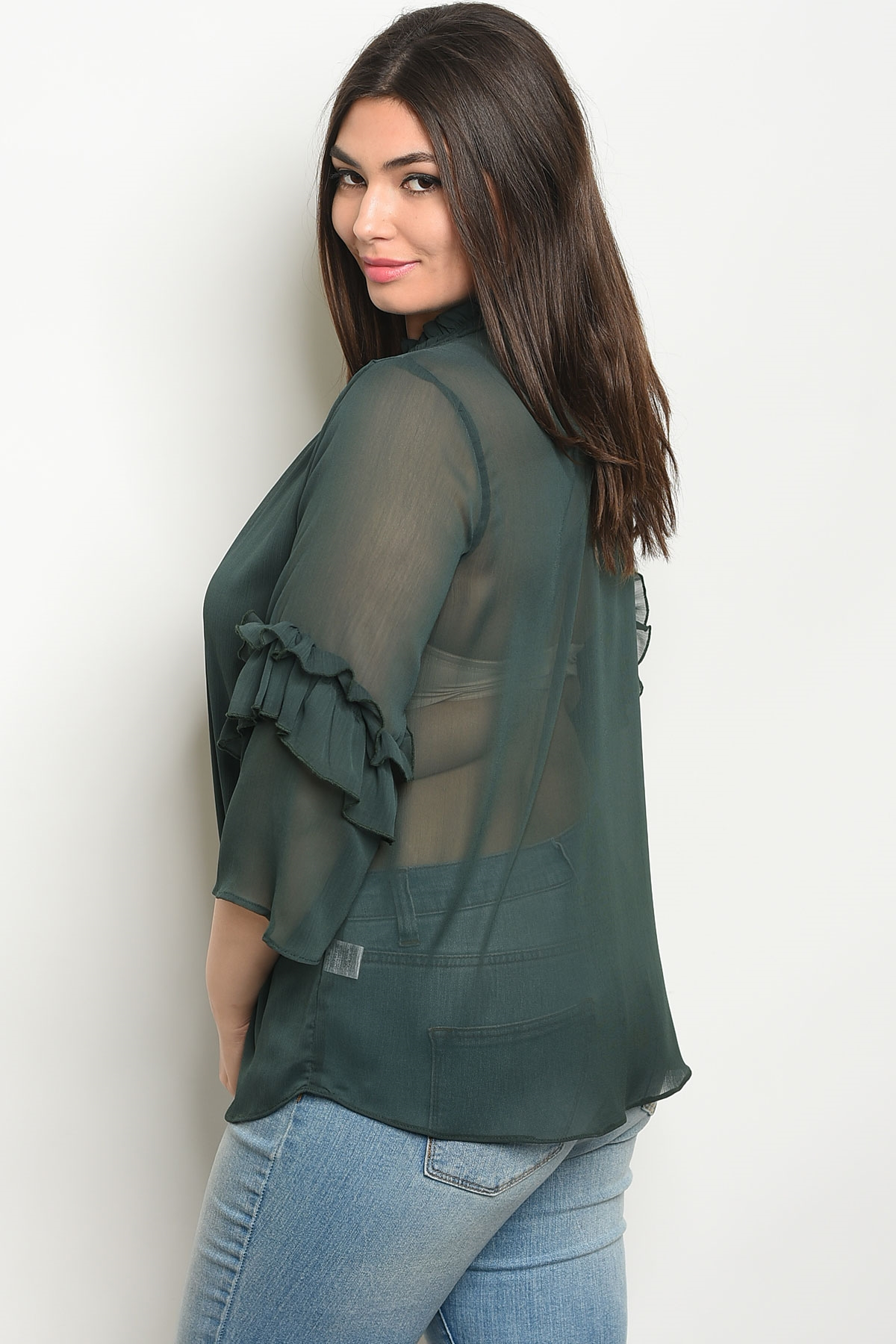 15356bb50da S20-3-4-T9432X GREEN PLUS SIZE TOP 2-2-2