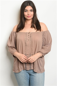 111-4-2-T9302X TAUPE PLUS SIZE TOP 2-2-2