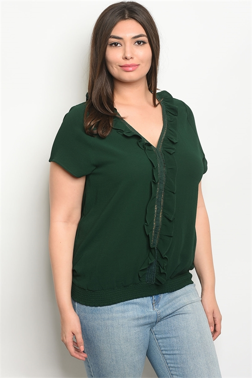 113-2-1-T9126X GREEN PLUS SIZE TOP 2-2-2