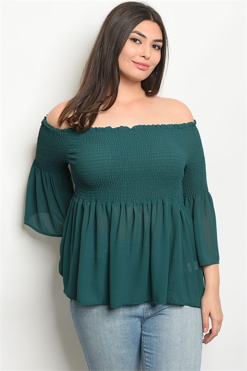 110-1-1-T8910X GREEN PLUS SIZE TOP 2-2-2