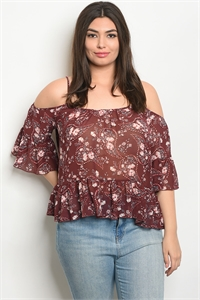 134-3-1-T9041X BURGUNDY FLORAL PLUS SIZE TOP 2-2-2