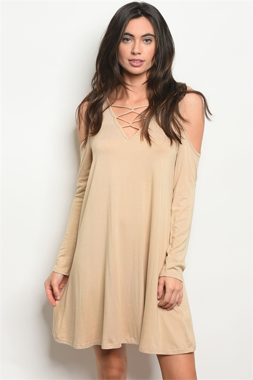 S18-3-1-D3959 TAUPE DRESS 2-2-2