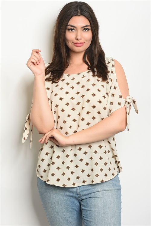 110-3-2-T9294X BEIGE WITH FLOWER PRINT PLUS SIZE TOP 2-2-2
