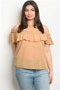 111-4-4-T9319X TAUPE PLUS SIZE TOP 2-2-2