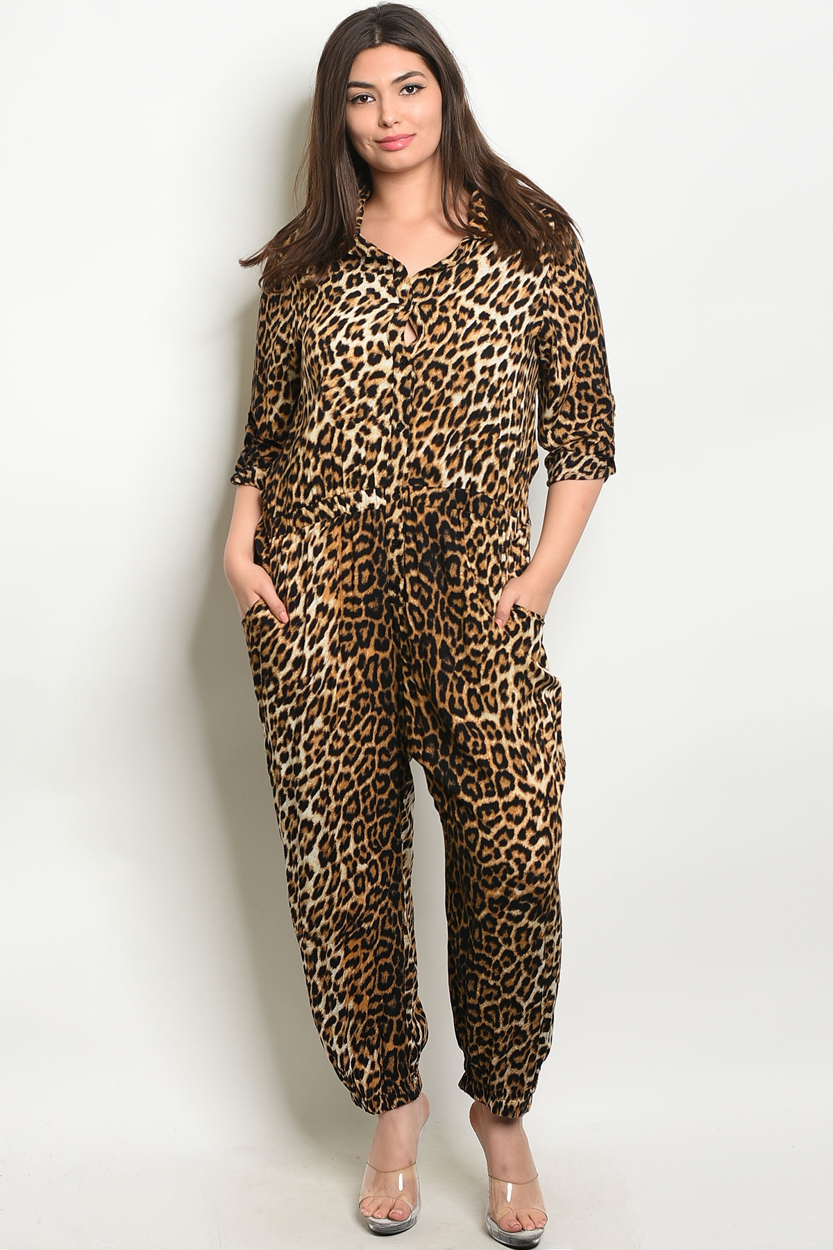 eb3ae7ff085a ... BLACK CHEETAH PRINT PLUS SIZE JUMPSUIT 2-2. Larger Photo ...