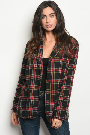 114-2-2-J7101 BLACK RED CHECKERED JACKET 2-2-2