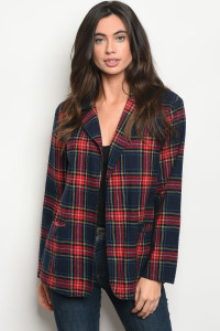 125-1-3-J7101 NAVY RED CHECKERED JACKET 2-2-2