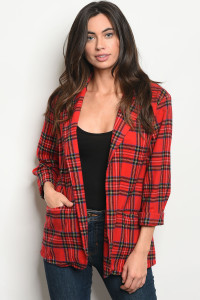114-2-2-J7101 RED BLUE CHECKERED JACKET 2-2-2