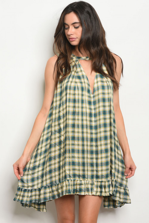 S24-4-3-D1822 YELLOW JADE CHECKERS DRESS 2-2-2
