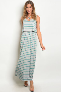 C19-A-5-D371616 GREY JADE STRIPES DRESS 2-2-2