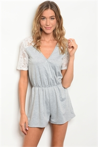 C58-B-2-R36622 GREY WHITE ROMPER 3-2-1