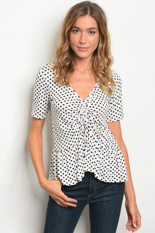 C21-B-3-T3706907 WHITE BLACK W/ DOTS TOP 2-2-2