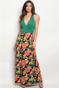 Y-B-D785019 GREEN BLACK FLORAL DRESS 2-2-2