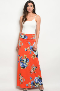 Z-B-S1016 ORANGE WITH FLOWER PRINT SKIRT 2-2-2