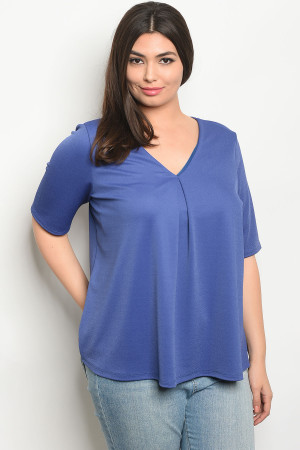 C101-B-4-T8119X BLUE PLUS SIZE TOP 2-2-2