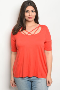 C97-A-3-T8088X ORANGE PLUS SIZE TOP 2-2-2