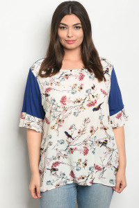C97-B-2-T7975X IVORY NAVY FLORAL PLUS SIZE TOP 2-2-2