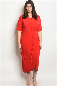 C85-A-2-D13639X RED PLUS SIZE DRESS 2-2-2