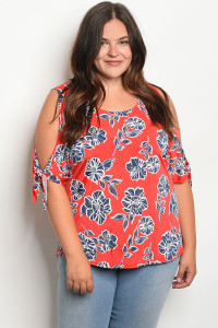 C76-B-3-T76204X RED NAVY WITH FLOWER PRINT PLUS SIZE TOP 2-2-2