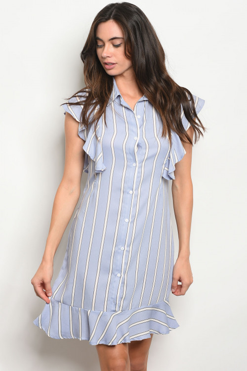 109-3-1-D5140 BLUE WHITE STRIPES DRESS 2-2-2