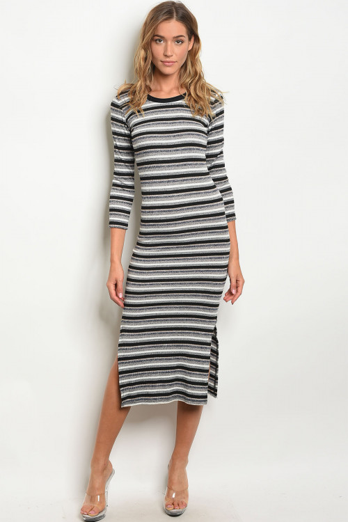111-3-4-D9728 BLACK NAVY STRIPES DRESS 2-2-2