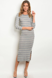 111-3-4-D9728 GRAY CREAM STRIPES DRESS 2-2-2