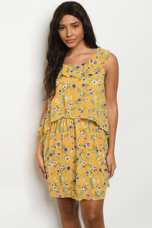 134-3-5-D5718 YELLOW FLORAL DRESS 2-2-2