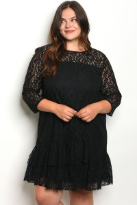 S8-3-2-D5829X BLACK PLUS SIZE DRESS 2-2-2