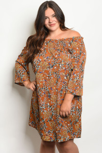 S2-9-1-D5382X EARTH FLORAL PLUS SIZE DRESS 2-2-2