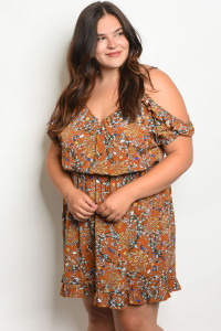 SA4-5-3-D5710X CAMEL FLORAL PLUS SIZE DRESS 2-2-2