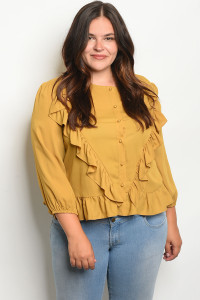132-3-1-T3406X MUSTARD PLUS SIZE TOP 2-2-2