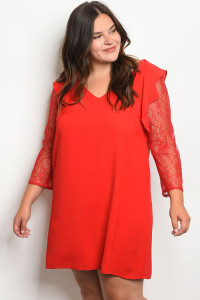 S8-5-1-D5866X RED PLUS SIZE DRESS 2-2-2
