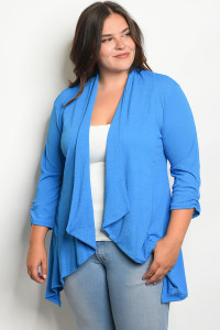 C96-A-4-C11692X BLUE PLUS SIZE CARDIGAN 2-2-2