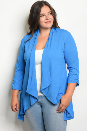 C95-A-1-C11692X BLUE PLUS SIZE CARDIGAN 1-2