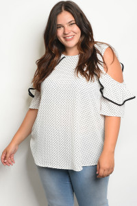 C98-A-5-T2035X OFF WHITE BLACK WITH POLKA DOTS PLUS SIZE TOP 2-2-2