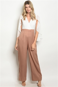 240-1-5-NA-J11326 TAUPE WHITE JUMPSUIT 2-2-2