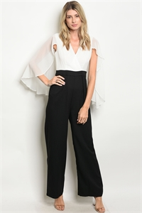 241-2-1-NA-J11326 BLACK WHITE JUMPSUIT 2-2-2