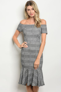 C79-A-4-D26251 BLACK WHTIE HOUNDTOOTH DRESS 2-2-2