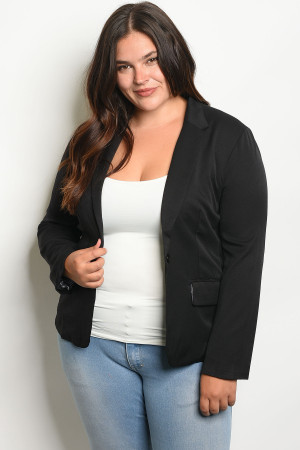 136-2-1-J3125X BLACK PLUS SIZE JACKET 2-1-2
