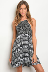 113-2-1-D2074 BLACK WHITE ELEPHANT PRINT DRESS 2-2-2