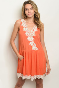 111-1-1-D4819 ORANGE IVORY LACE DRESS 2-2-2