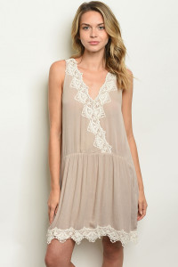 111-1-1-D4819 TAUPE IVORY LACE DRESS 2-2-2