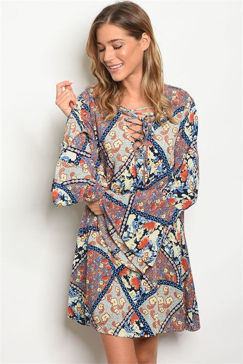 S21-4-2-D5505 NAVY EARTH FLORAL DRESS 2-2-2