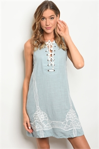 111-1-3-D4985 BLUE WHITE DRESS 2-2-2