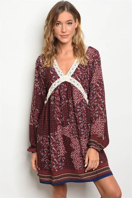 111-1-4-D6135 BURGUNDY WITH FLOWER PRINT DRESS 2-2-2