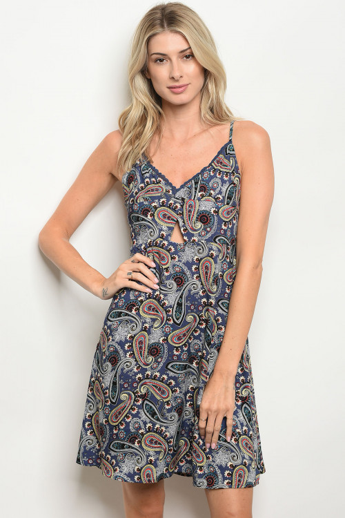 S21-3-3-D2518 BLUE MULTI WITH PAISLEY PRINT DRESS 2-2-2