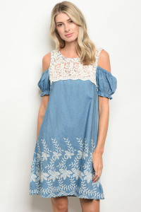 S11-9-5-D2335 BLUE IVORY DENIM DRESS 2-2-2