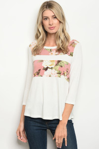 C11-B-3-T4767 IVORY PINK FLORAL TOP 2-2-2