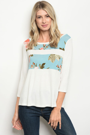 C7-B-4-T4767 IVORY BLUE FLORAL TOP 2-2-2